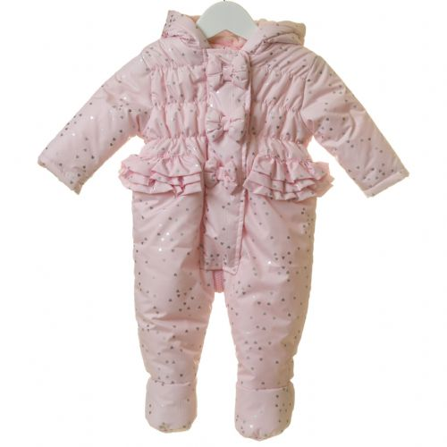 Pink Hooded Snowsuit with Heart Print